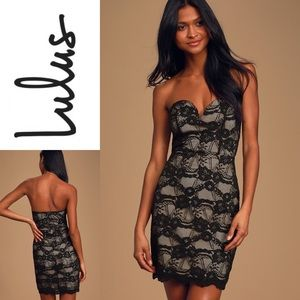 NWT LULU'S Lace Strapless Bodycon Dress